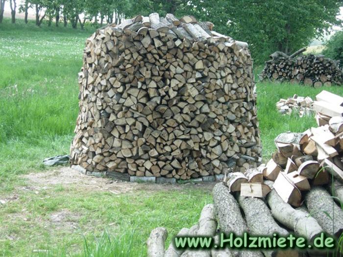den Ertrag der letzten Holzernte mit der Hand gespalten und gestapelt