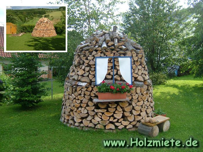 Birkenholz Miete mit Solarleuchte hinterm Haus